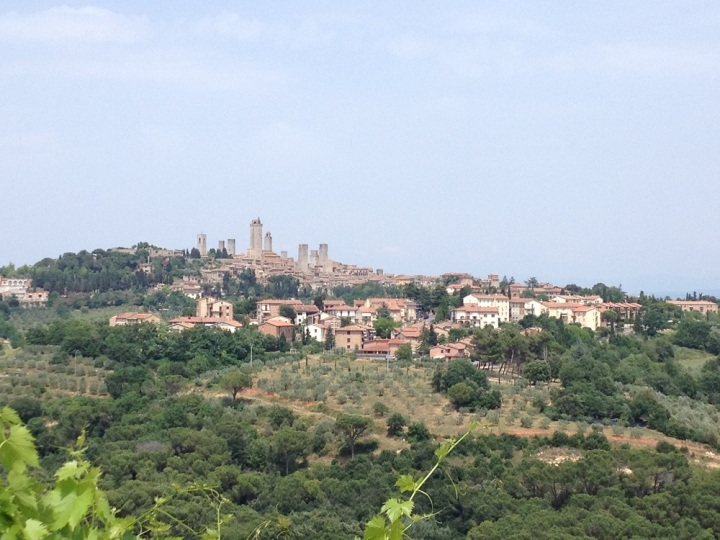 View of San Gimignano town from Siena.